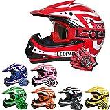 Leopard LEO-X17 Casques Motocross & Gants d'enfants & Lunettes pour Enfants - Rouge S (49-50cm) - Casque de Moto de Bicyclette ATV...