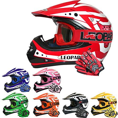 Leopard LEO-X17 Kinder Motocross MX Helm { Motorradhelm + Handschuhe + Brille} Rot M (51-52cm) ECE Genehmigt Crosshelm Kinderquad Off Road Enduro Sport