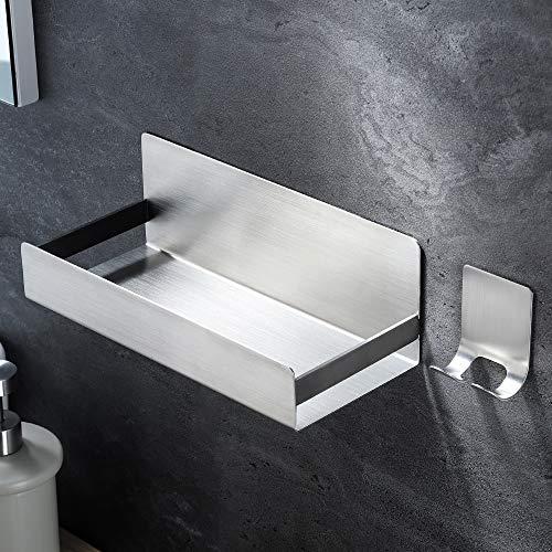 YIGII Estanteria Baño - Estanteria Ducha Autoadhesivo con Gancho Adhesivo Juego de Accesorios de Baño, Acero Inoxidable