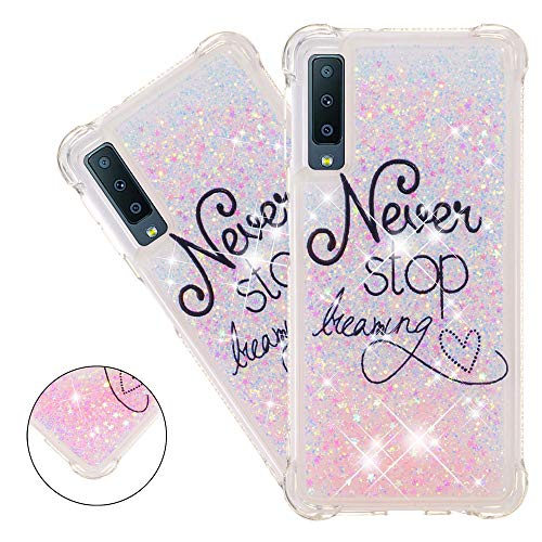 HMTECHUS A7 2018 case for Girl Glitter Liquid Sparkle Floating Luxury Quicksand Clear Soft TPU Silicone Shockproof Protective Bumper Thin Cover for Samsung Galaxy A750 Bilng Pink Letters YB