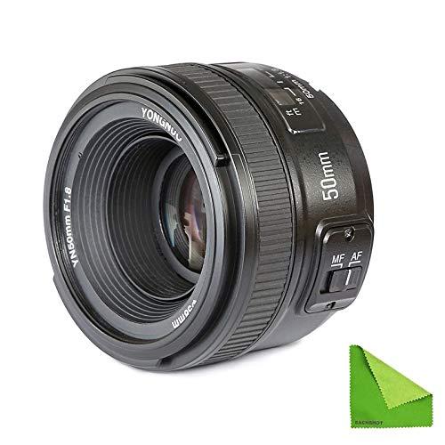 YONGNUO YN EF 50mm f/1.8 AF Lens YN50 Aperture Auto Focus for Nikon Camera as AF-S 50mm 1.8G with EACHSHOT Cleaning Cloth