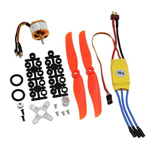KEESIN Motore Brushless RC 2200KV, 2212-6 + con Set ESC Brushless 30A, Kit Accessori Elica 6035 per Elicottero Quadricottero Aereo RC