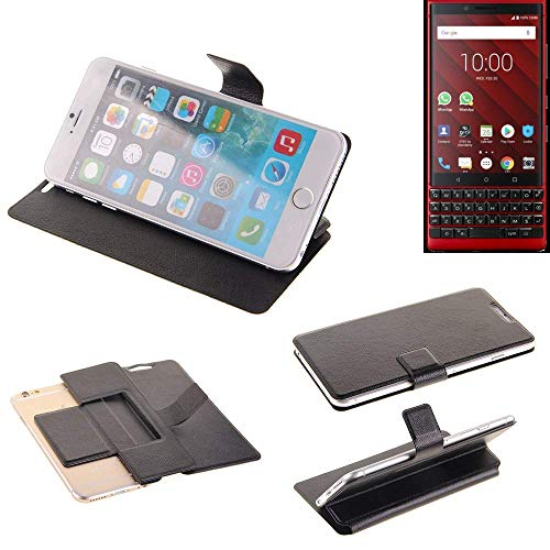 K-S-Trade® Handy Schutz Hülle Für BlackBerry KEY2 Red Edition Flip Cover Handy Wallet Case Slim Bookstyle Schwarz