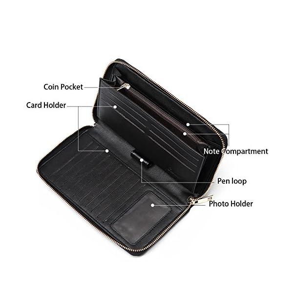 CLUCI Women Wallet Large Leather Designer Zip Around Card Holder Organizer Ladies Travel Clutch Wristlet 4