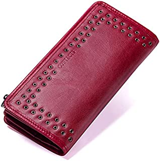 Contact's New Genuine Leather Wallet for Women Vintage Brand Small Short Ladies Purse Zipper Pocket Coin Organizer Wallets