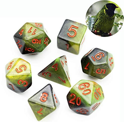 cusdie 7-Die Resin DND Dice, Polyhedral Dice Set, for Role Playing Game Dungeons and Dragons D&D...