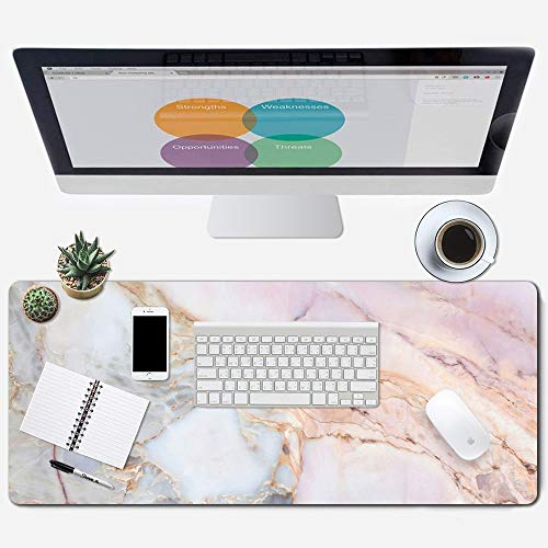 ZYCCW Large Gaming XXL Mouse Pad, Oversized Extended Mat Desk Pad Keyboard Pad (31.5'x11.8'x0.15') Thick Non-Slip Rubber Stitched Edges(Marble)