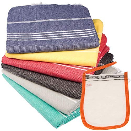 Turkish Towel Set of 6 Beach Towels Oversized Clearance Fast drying towel 100% Cotton Sand Free...