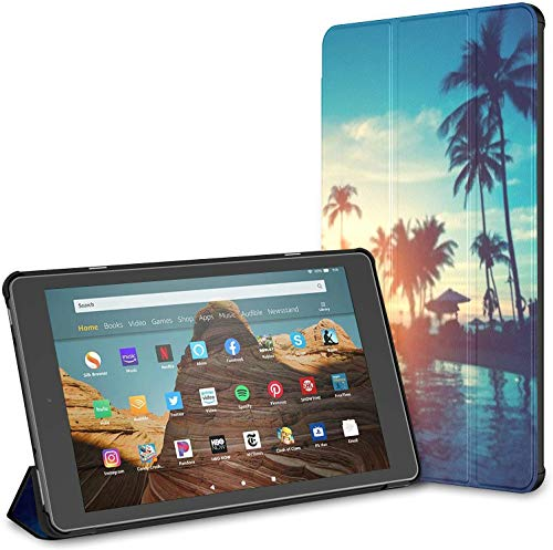 Case for All-New Amazon Fire Hd 10 Tablet (7th and 9th Generation,2017/2019 Release),Amazing Sunrise On Tropical Sea Beach Case Cover with Auto Wake/Sleep