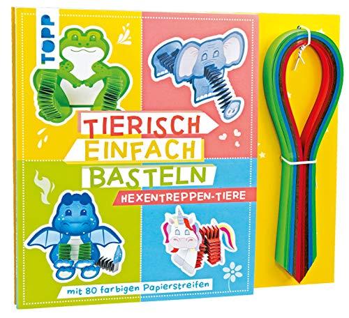 Tierisch einfach Basteln - Hexentreppen-Tiere: Verbastelbuch mit 80 farbigen Papierstreifen
