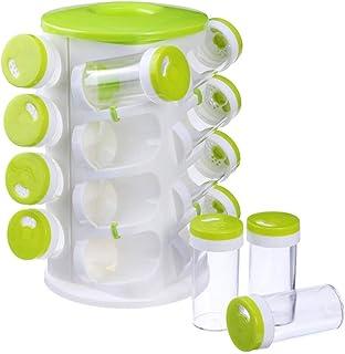 ホームスパイスジャー16ジャー2つのタイプの穴スパイスボトルホルダースタンドシェルフキッチンストレージコンテナージャム、スパイス、穀物、お茶用グリーン