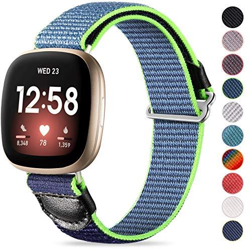 JUVEL Strap Compatible with Fitbit Versa 3 StrapFitbit Sense Strap Soft Woven Nylon Sport Loop Breathable Replacement Wristband for Women Men BlueGreen