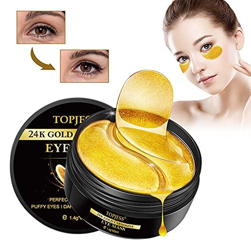 Eye Maske, Eye Mask, Augenpads, Augen Patches, 24K Gold Eye Mask, Collagen Eye Maske, Hyaluronsäure & Collagen, Anti Aging, Entfernen Taschen, Dunkle Kreise & Puffiness, Gold Augen Pads 60Pcs