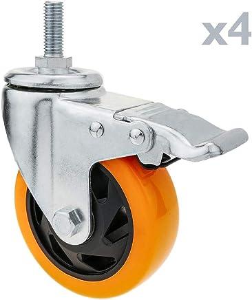 PrimeMatik - Lenkrollen Schwenkrollen Industriell Rad aus Polyurethan mit Bremse 100 mm M12 4-Pack