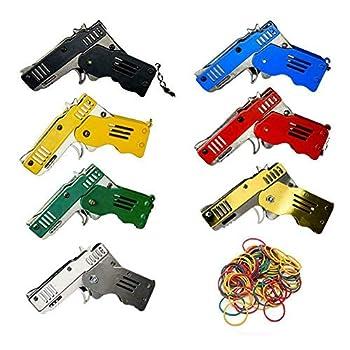 2Pack-Rubber Band Gun -Mini Toy Gun-Metal Folding Rubber Band Gun, with Keychain + Rubber Band(Random Color)