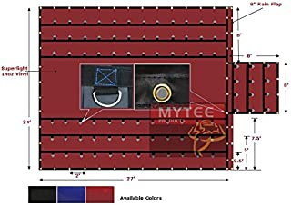 Mytee Products RED Superlight 14oz Flatbed Trailer Lumber Steel Tarp 24x27 (8' Drop)