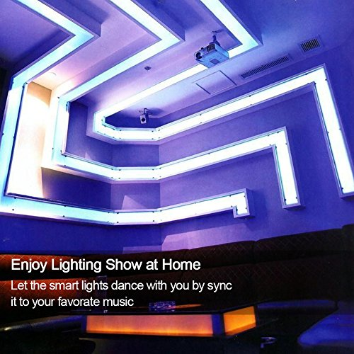 Ucharge WiFi Led Strip Lights, 300 LED 5050 SMD Rope Light 16.4ft Smart Tape Lighting Kit(AC Adapter + LED Strip + IR Remote Controller) for Decoration Support Android/iOS Mobile Phone-Multi(RGB)
