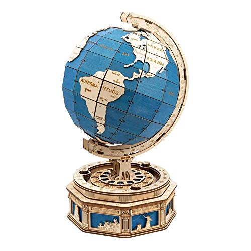 The Globe 3D Puzzle Wooden Self-Assembling Jigsaw Building Model Kits Mit Secret Locker Home Decorationn Geschenk Für Kinder Und Erwachsene
