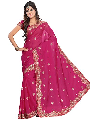 Indian Trendy Women's Bollywood Sequin Embroidered Sari Festival Saree Unstitched Blouse Piece Costume Boho Party Wear (Deep Pink)