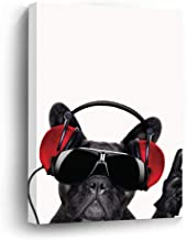 Mesllings Wall Art French Bulldog Wearing Headphone Home Decor Canvas Print - 8X10 Inches