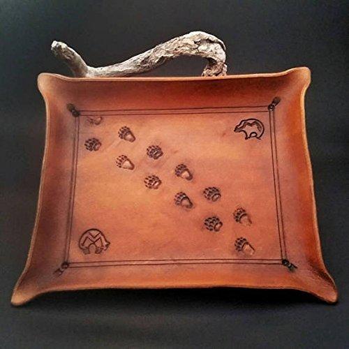 Rustic leather valet tray / jewelry tray with bear tracks. heartline/ zuni bear spirit animal