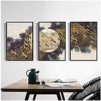 DLFALG 北欧の抽象的なキャンバス絵画水彩ブリッドネットムーンポスターウォールアートプリント写真風景リビングルーム家の装飾-40x60cmx3フレームなし
