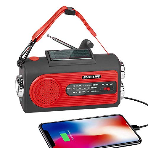 SUNGLIFE Solar Crank NOAA Weather Radio for Emergency with AM/FM, Flashlight, Reading Lamp, 2000mAh Power Bank USB Charger and SOS Alarm, Red