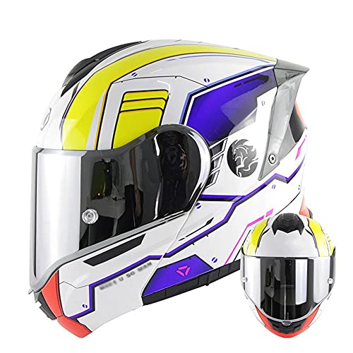 Casco Modular para Motocicleta Casco Integral Dot/ECE Homologado Cascos Moto integrales para Mujer Hombre Adultos con Doble Visera (Color : White Blue B, Size : L/Large 57-58cm)