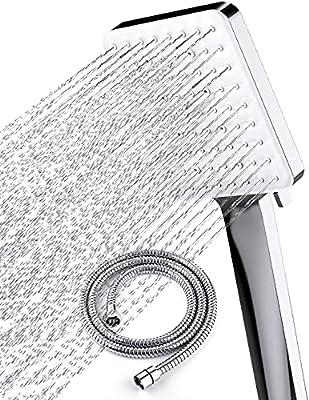 Newentor Shower Head with Handheld High Pressure, One Handed Setting Changer Shower Head with Handheld, 6 Settings Handheld Shower Head with 59 Inch Stainless Steel Hose and Adjustable Bracket