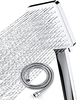 Newentor High Pressure Shower Head with Handheld - 6 Settings Showerheads & Handheld Showers - Modern Handheld Shower Heads Solve Low Water Pressure & Flow Smart Switch for the Settings Chrome