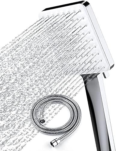 Newentor Cabezal de ducha con manguera, cabezal de ducha de alta presión con manguera de 1,5 m, juego de manguera y cabezal de ducha universal con 6 ajustes modo de pulverización, cromo
