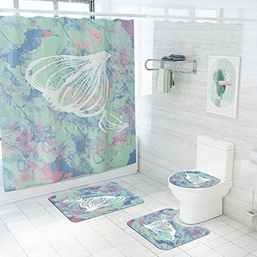 Obrand Bad-Teppiche WC Badezimmer Teppich,Abstrakte Pflanze Tomate Digitaldruck Polyester Wasserdicht Duschvorhang Teppich Sockelteppich Toilettensitzbezug-A