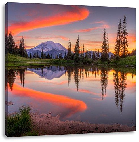 Pixxprint Sonnenaufgang Berglandschaft, Format: 70x70 auf Leinwand, riesige Bilder fertig gerahmt mit Keilrahmen, Kunstdruck auf Wandbild mit Rahmen