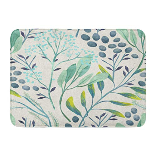NCH UWDF Doormats Bath Rugs Door Mat Green Leaf Hand Floral Pattern on Watercolor Botanical Classic Herbal Fern 15.8'x23.6'