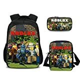 3Pcs Toddler Backpack for Boys with Lunch Bag Pencil Case Kids School Bags Student Bookbag for Girls Teens Game Fans Gifts (Color 4)