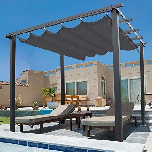 idmarket – Pergola tejado retráctil gris 3 x 3 m Cenador 4 patas: Amazon.es: Jardín