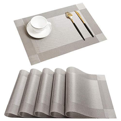 Borlan Vinyl Grey Placemats Heat Resistant Dining Table Mats Non-slip Washable Place Mats Set of 6(Grey)