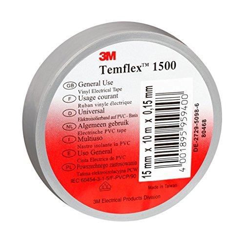 3M TGRA1525 Temflex 1500 Vinyl Elektro-Isolierband, 15 mm x 25 m, 0,15 mm, Grau
