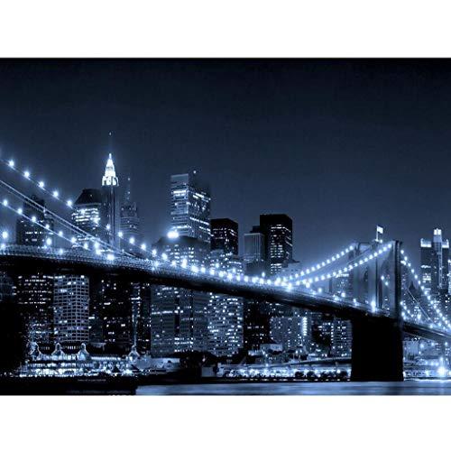 Ukerdo DIY Brooklyn Puente Noche Ver Diamante Pintura Pared Cuadros para Sala