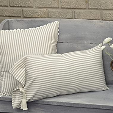 Piper Classics Farmhouse Ticking Stripe Taupe Fabric Throw Pillow Cover, 12  x 25 , Décor Accent