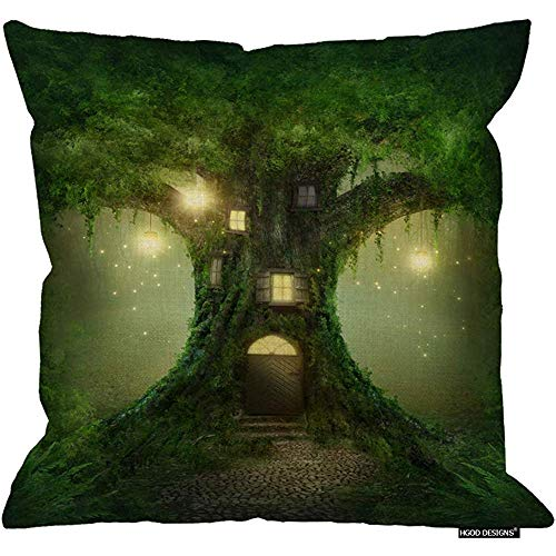 Forest Throw Pillow Cojín Fundas, Fantasy Green Tree House con luz cálida de la Linterna en Forest Magic Sofa Sofá Escritorio Silla de Dormitorio