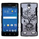 for AT&T GoPhone ZTE Zmax 2 /Z995L / Z958L /ITUFFY 2 Items: Stylus Pen + [Dual Layer Shock Proof] [Holster Combo/w Belt Clip] [Kickstand] Armor Case (Root Skull Tree)