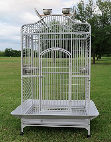 New Large Wrought Iron Open/Close Play Top Bird Parrot Cage, Include Metal Seed Guard Solid Metal Feeder Nest Doors Overall Dimensions: 35.25' Wx29.5'x62'H(with Seed Skirt) (28Wx22Lx59H, White Vein)