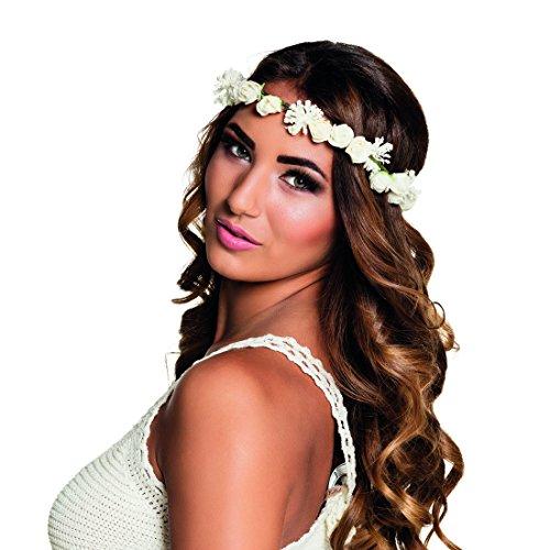 NET TOYS Bandeau de Fleurs - Blanc | Couronne de Fleurs | Bijoux de Cheveux bohèmes | Bijoux de tête Hippie