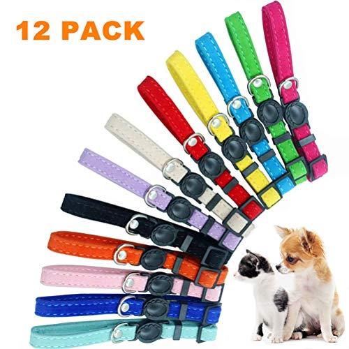 HOMIMP Hundehalsbänder für Welpen – 12 Stück weiche Samt-verstellbare Ausweishalsbänder – für Neugeborene Haustiere mit Wurfaufzeichnung