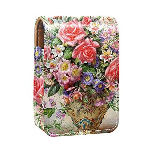 ColorMu Etui à Rouge à lèvres en Cuir avec Miroir Mini boîte à Bijoux cosmétiques Sac de Rangement des Rouges à lèvres Art_ Vase Fleur Peinture