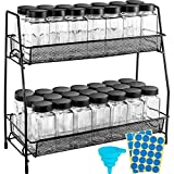 ORDORA Countertop Spice Rack with 35pcs Empty Spice Jars 4oz, Counter Space Saving Spice Rack Organizer for Cabinet, Square Glass Spice Jars with Lids, Labels, Under Cabinet Spice Rack and Funnel