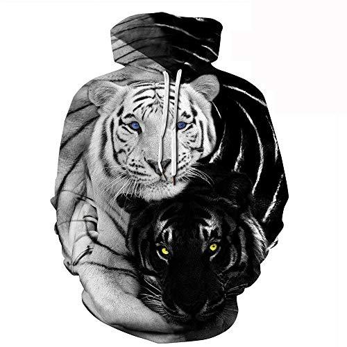 Morbuy Sudaderas con Capucha Animal Impresas 3D Unisex con Bolsillos, Hombre Mujer Ocio Manga Larga Hoodies Pullover Moda Tops Deportes Sweatshirt (S/M, Tigre Blanco Negro)