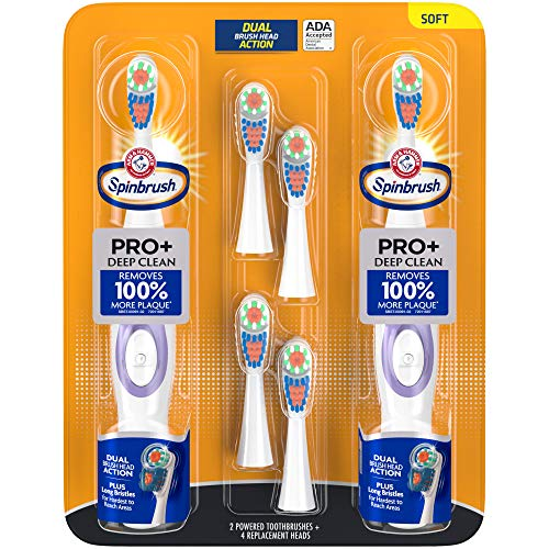 ARM & HAMMER Spinbrush PRO Clean Soft Family Pack- 2 Brushes Plus 4 Refill Heads- Battery Powered Toothbrush Multi-Pack- Soft Bristles