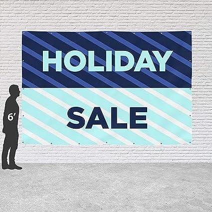 CGSignLab Holiday Sale Stripes Blue Heavy-Duty Outdoor Vinyl Banner 12x8